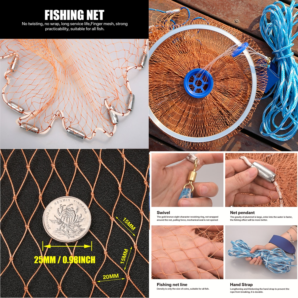With sinker and without sinker Cast Net Fishing Network USA Hand Cast Net Outdoor Throw Catch Fishing Net Tool Gill net enlarge