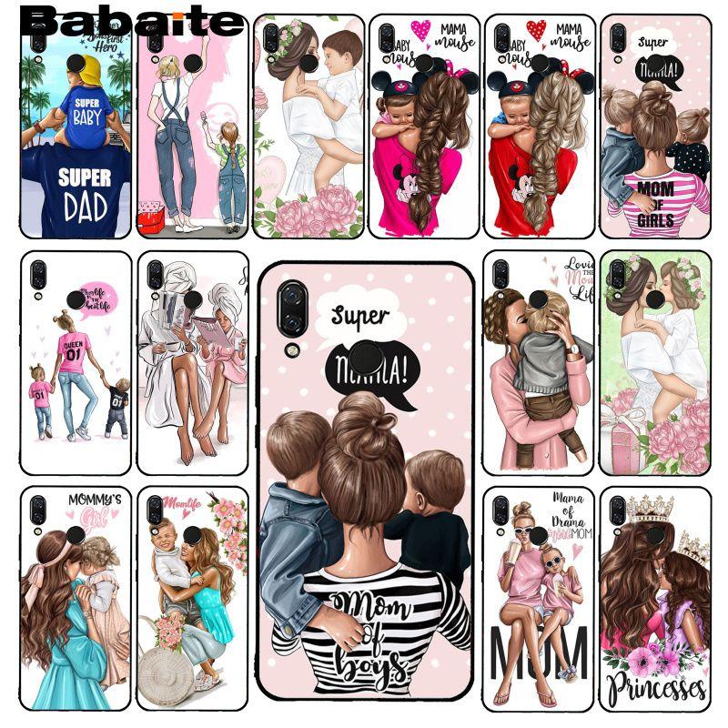 Babaite de moda negro marrón pelo bebé mamá hija hijo niña papá PhoneCase para Xiaomi Redmi4X 6A 9 ir 5 5Plus Note8T Note6Pro