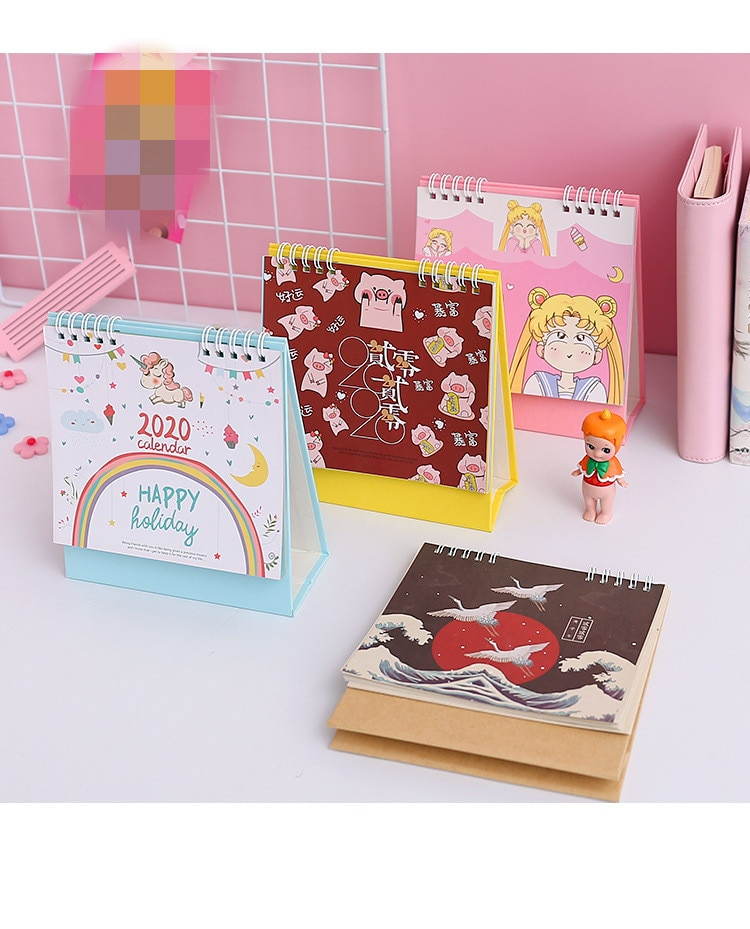 Cartoon Animals Unicorn Pig Flamingo Mini Desk Calendar Sailor Moon Sakura 2020 Action Figure Paper Memo Planner Daily Schedule