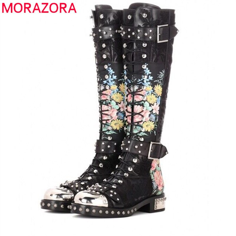 MORAZORA 2021 خريف شتاء موضة ساعات ذات معصم جلد كلاسيكية حذاء برقبة للركبة كعب منخفض مستدير تو مشبك برشام أحذية النساء