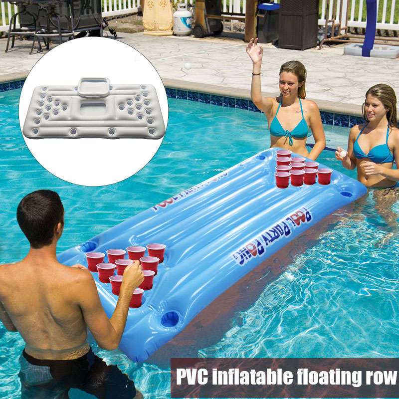 24/28 Cup Holder Inflatable Beer Pong Table Pool Float Summer Water Party Fun Air Mattress Cooler Float ALS88
