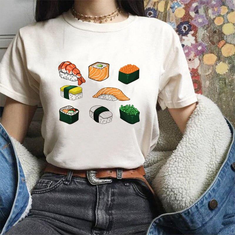 Женская футболка в японском стиле Харадзюку милые суши с принтом счастливого кота Повседневная Уличная одежда в стиле ретро