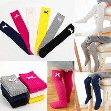 Chaussettes en coton pour enfants   Automne, hiver, chaussettes chaudes et en dentelle, pour tout-petits, chaussettes à nœuds hauts des genoux, longues et douces