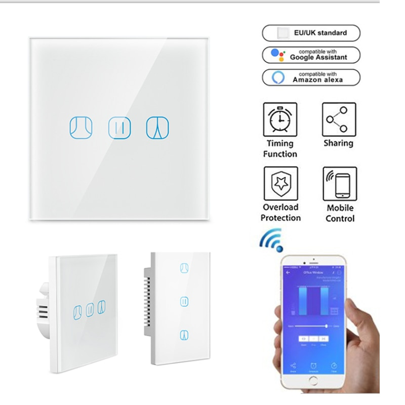 Casa inteligente wi fi inteligente cortinas elétricas interruptor de controle voz por alexa google casa switchbot cortina