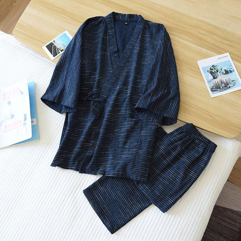 ثوب الكيمونو الياباني قطعتين الرجال الربيع و الصيف جديد 100% القطن bathrobe قطعتين طويلة منامة خدمة المنزل مجموعة رداء مجموعات