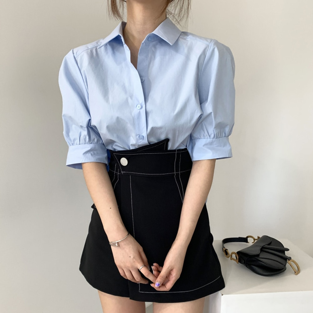 2021 Summer New Korean Fashion Women's Behind Pleated Design Short Blouse Solid Color Lapel Single-b