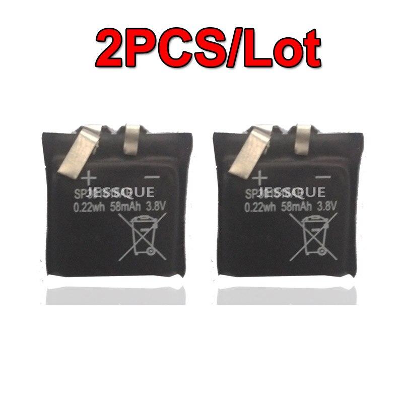 2 unids/lote 3,7 V 58mAh batería para Pebble Time reloj inteligente redondo reloj inteligente polímero recargable batería acumulador AKKU