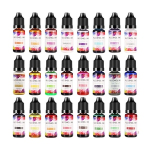 Alcohol Ink Resin Dye, 24Colors set 10ml each,Epoxy Resin Paint,Pigment Fast-Drying for DIY Craft,Jewelry