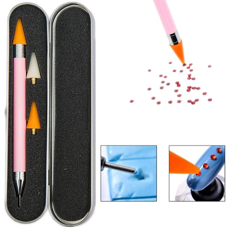 Duplo-ended prego arte cera pregos contas strass jóias de cristal pedras diamante picker caneta caneta aplicador ferramenta + 2 extra cera