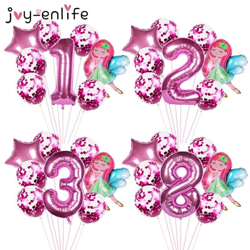 8 pçs pequenas fadas meninas pixie balões 40 polegada rosa número ballon 1 2 3 4 5 6 7 8 9th chá de fraldas crianças meninas festa de aniversário decoração
