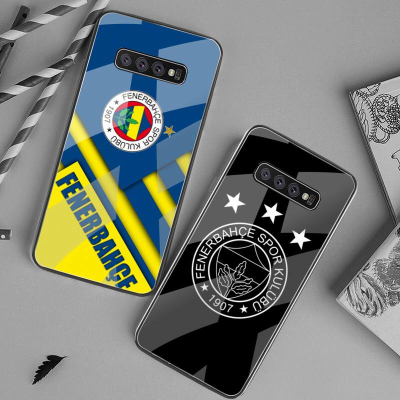 YJZFDYRM, funda de teléfono de fútbol turco, funda de teléfono de cristal templado para Samsung S20 Plus S7 S8 S9 S10 Plus Note 8 9 10 Plus