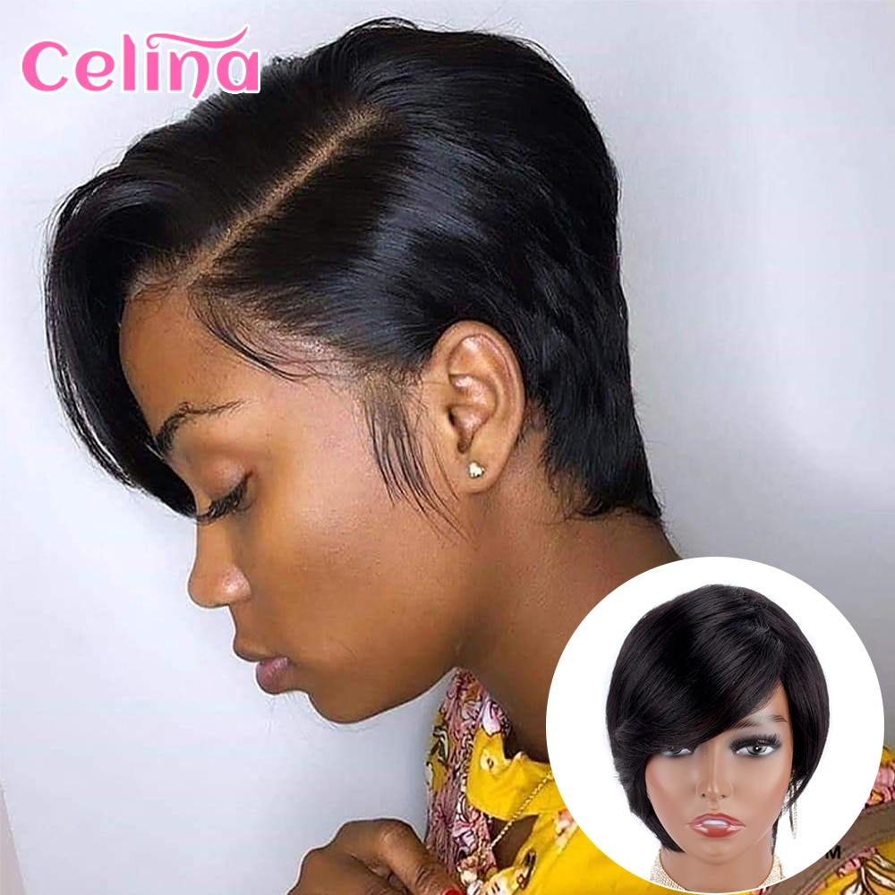 Pixie Cut Short Human Hair Wig With Bangs Straight Bob Short Human Hair Wigs Ombre Color 99j Full Machine Wigs For Black Women