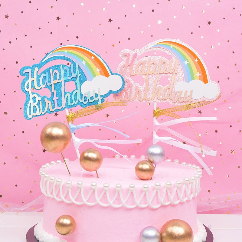 Brand New Cake Toppers Glitter Rainbow and Happy Bithday Letter Cake Topper Kids Birthday Cake Decor Flags Dessert Table Decor