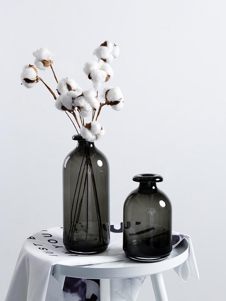 Jarrones de Cristal de cilindro Negro Nórdico, Jarrones de mesa estéticos minimalistas,...