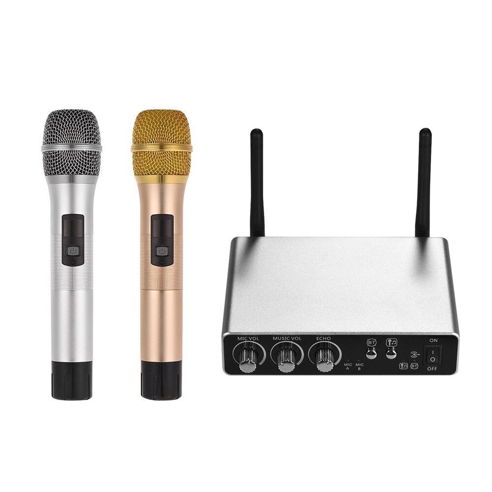 Sistema de microfone sem fio com 2 microfones sem fio e caixa receptor equipamento ao vivo opcional 25 canais uhf banda para karaoke