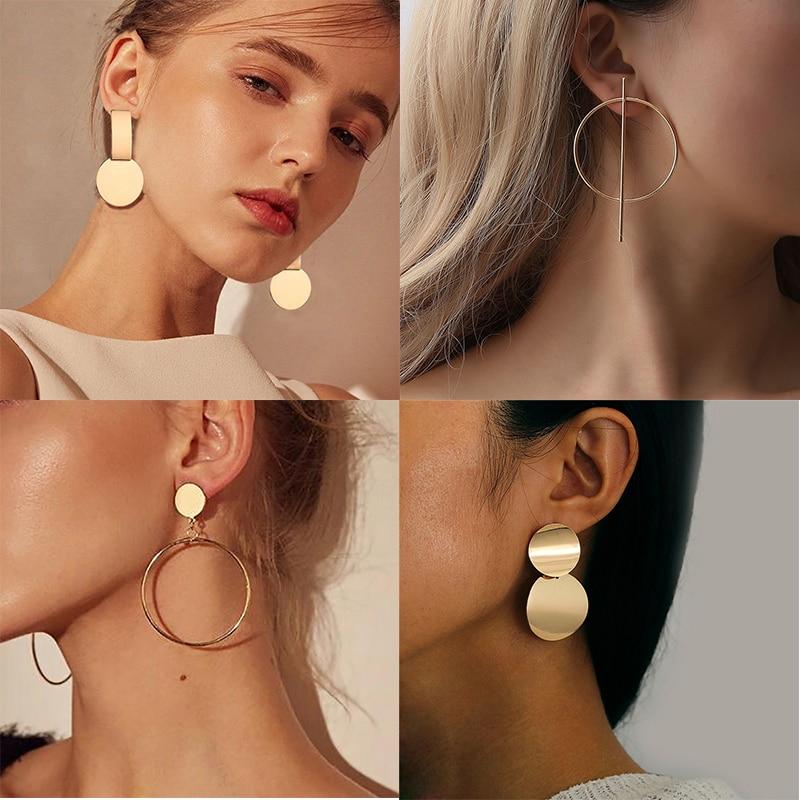 Большие золотые массивные серьги для женщин, металлические Модные Роскошные Модные женские ювелирные изделия, дизайнерские Винтажные серьги, висячие серьги