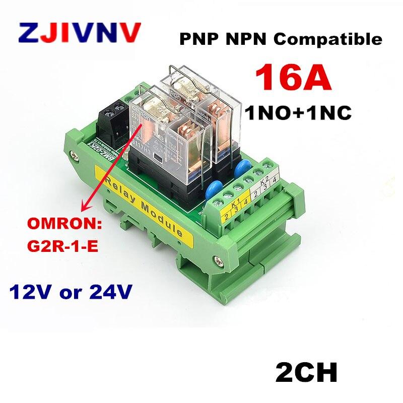 2 canales 1 Montaje en carril DIN SPDT OMRON G2R-1-E 16A 12V 24V CC módulo de relé de interfaz compatible con PNP NPN