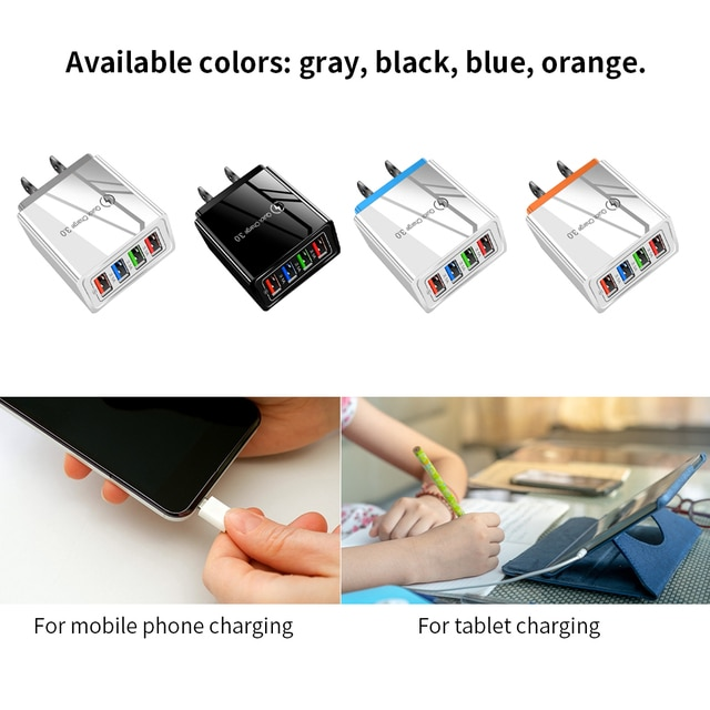 Quick Charge 3.0 For iPhone Charger Wall Fast Charging For Samsung S10 S9 S8 Plug Xiaomi Mi Huawei Mobile Phone Chargers Adapter 4