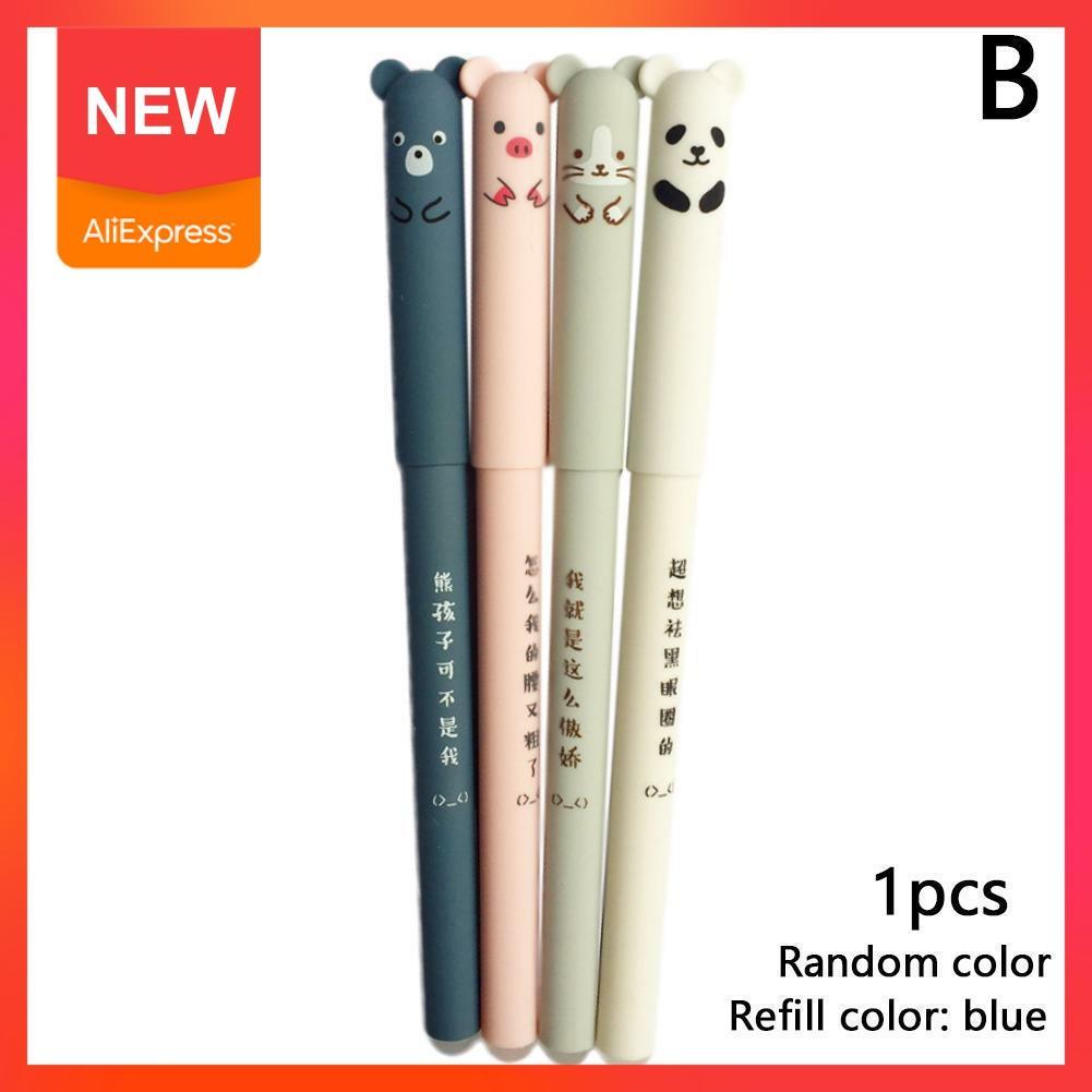 1 stücke Refill Panda Rosa Maus Schwein Bär Löschbaren Schwarz Bürobedarf Schreibwaren Blau Tinte Geschenk Gel Stift Schule E1C3