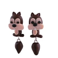 hand made polymer clay soft cute squirrel earrings for female girls fashion cartoon 3d animal perforated earrings