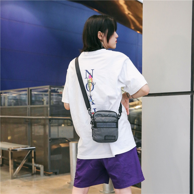 Mens Shoulder Messenger Casual Bag Nylon Anti-theft Waterproof Simple All-match