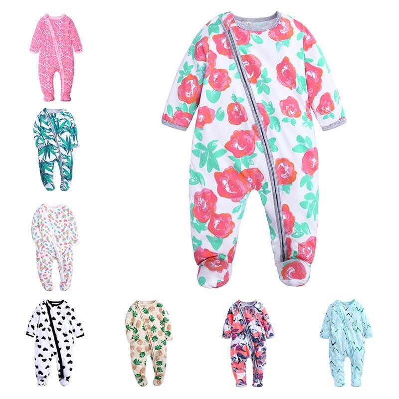 Infantil dos desenhos animados flor roupas de bebê menina & meninos manga longa macacão de bebê babygrow sleepsuits bebê macacão 0-18 m