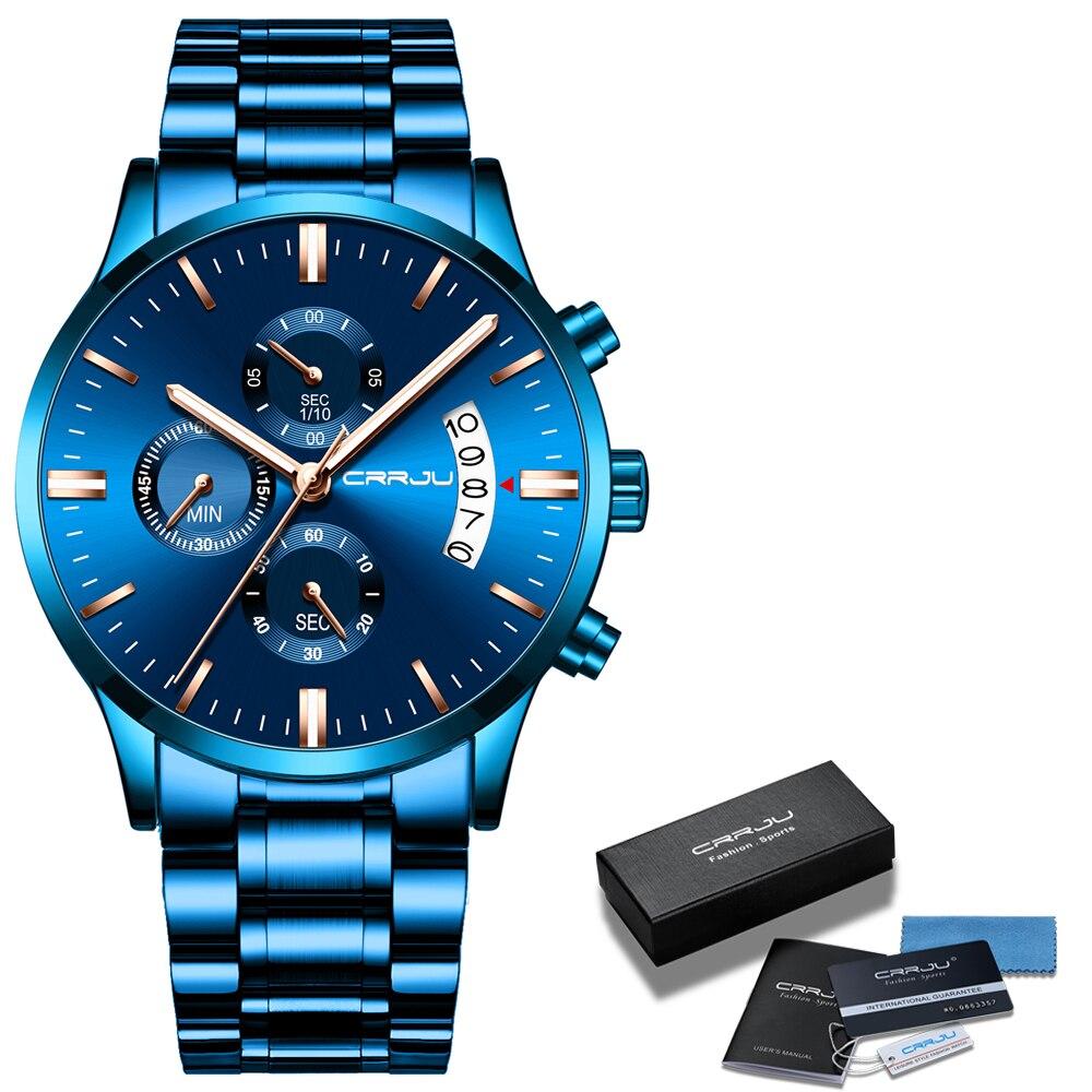 Hombres reloj nuevo CRRJU superior de acero inoxidable de la marca impermeable cronógrafo relojes de hombre de negocio cuarzo azul reloj de pulsera reloj hombre