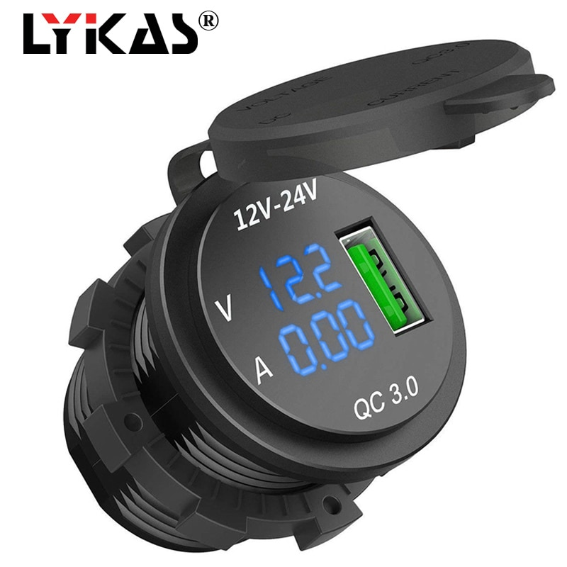 LYKAS LED medidor de corriente de voltaje Digital de corriente de coche cargador USB de carga rápida 3,0 enchufe adaptador de corriente de teléfono para motocicleta de 12v 24v