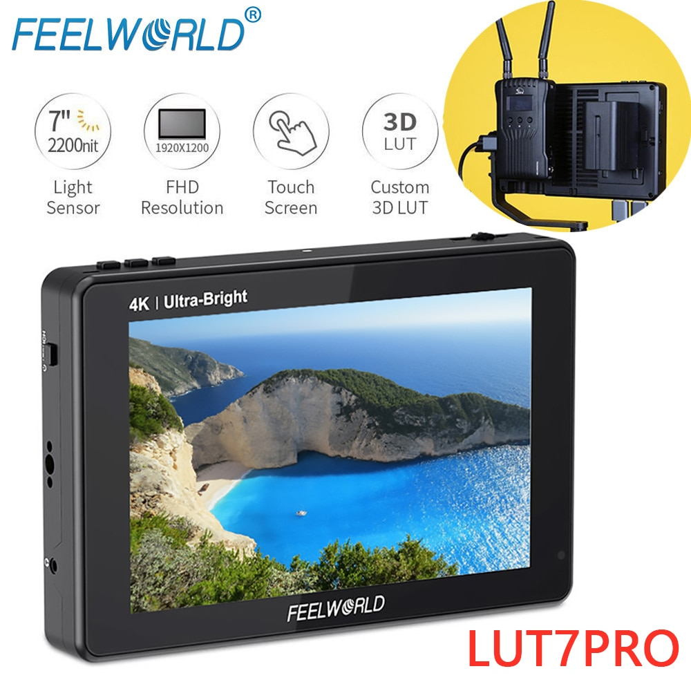 FEELWORLD-شاشة مراقبة ميدانية للكاميرا LUT7 PRO ، 7 بوصة ، 2200 شمعة ، شاشة تعمل باللمس ، 3D LUT 4K HDMI DSLR ، لنظام نقل الفيديو
