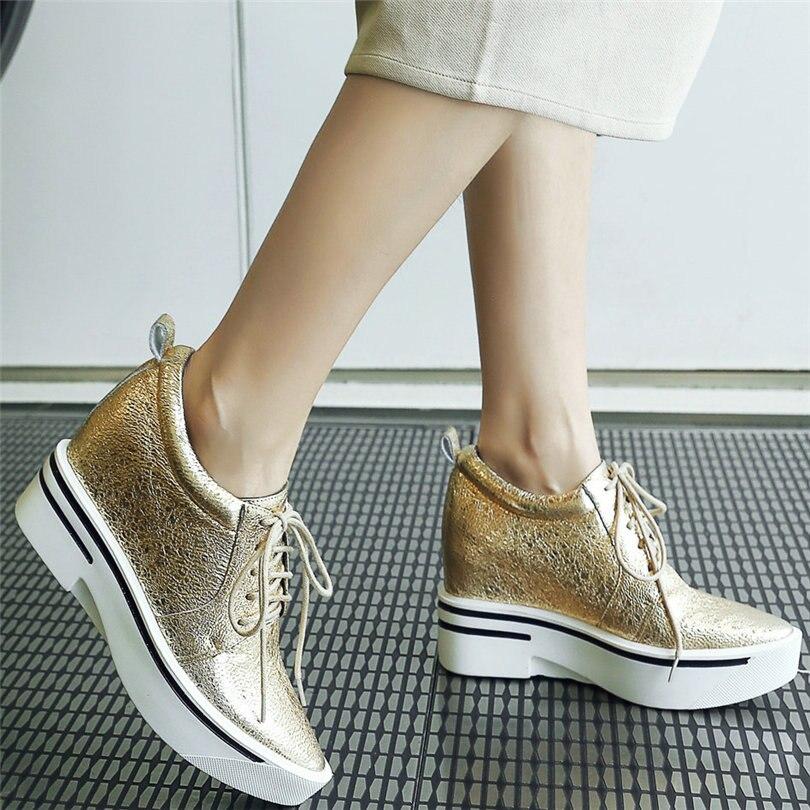 2021 Oxfords حذاء النساء الدانتيل يصل جلد طبيعي منصة أسافين حذاء حريمي كعب عالي الإناث أشار تو موضة أحذية رياضية حذاء كاجوال