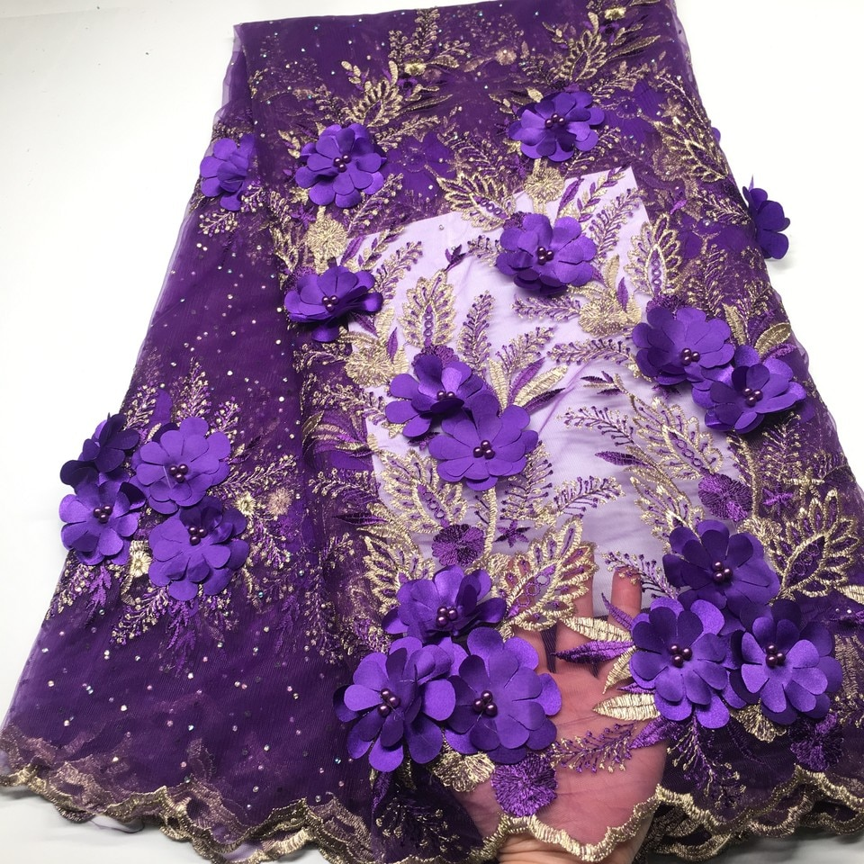 Tela de encaje Africana púrpura 2019, encaje de alta calidad con cuentas, tela de encaje francés para novias, tela de malla nigeriana, telas de encaje 3d, VS-M19301