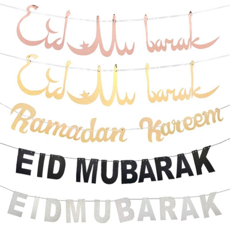 Gold Silber Glitter Eid Mubarak Banner EID Festival Ramadan Party Dekoration Wand Hängen Ramadan Kareem Bunting Papier Girlande