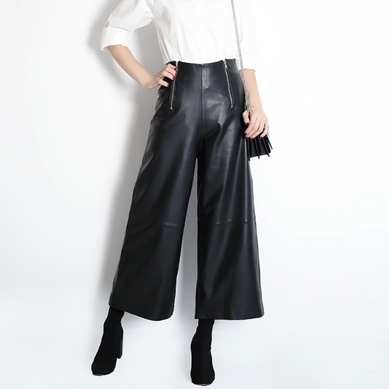 Women Leather Pants 2020 Autumn Elastic Waist Pants Mid Waist Casual Pants Wide Leg Soft Leather Pants Women Flare Trousers women autumn fashion snake skin print wide leg pants sexy party club flare pants casual elastic waist trousers pantalones
