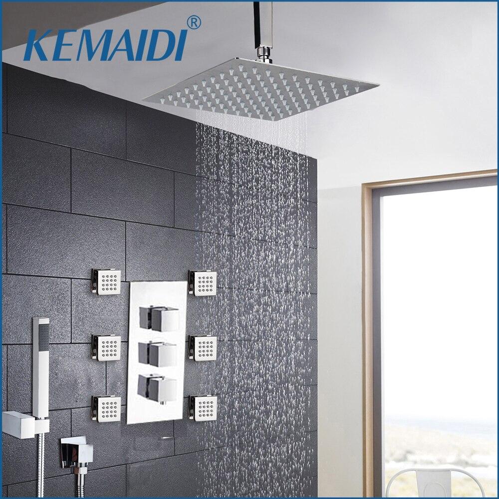 KEMAIDI Ceiling Mounted Rainfall Bathroom Chrome Shower Faucet Thermostatic Valve Mixer Tap W/ 6 Message Jets Shower Mixer Setبوصة دش رئيس مربع الكروم النحاس رسالة الطائرات دش مجموعة الحائط الأمطار...