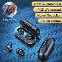 B5 TWS беспроводные наушники Bluetooth V5.0 спортивные наушники с шумоподавлением IPX5 водонепроницаемые сенсорные наушники 300 мАч зарядный чехол