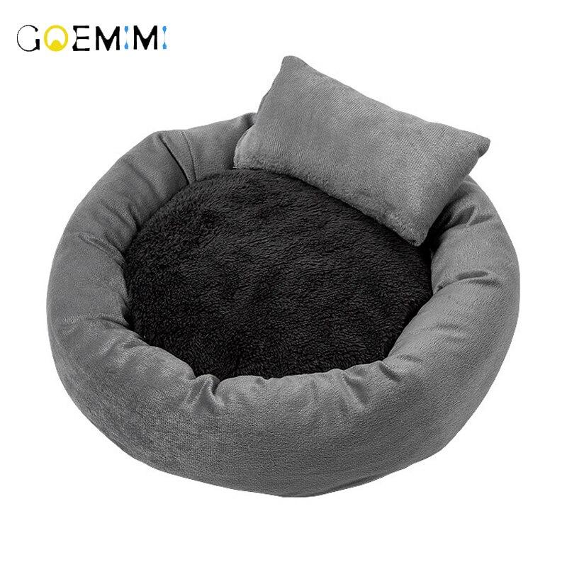 Cama de pelúcia para animal de estimação, almofada de pelúcia quente para gatos e cachorros cama de caverna dormindo