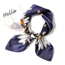 Bufanda de las mujeres de moda cuadrado de seda bufandas mujer pañuelo estampado Floral Foulard Oficina bufandas tipo aro Hijab