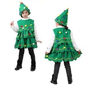 Fashion Kids Girls Dress Christmas Winter Velvet Green Treen  Girls Fancy Dress Costume for Kids