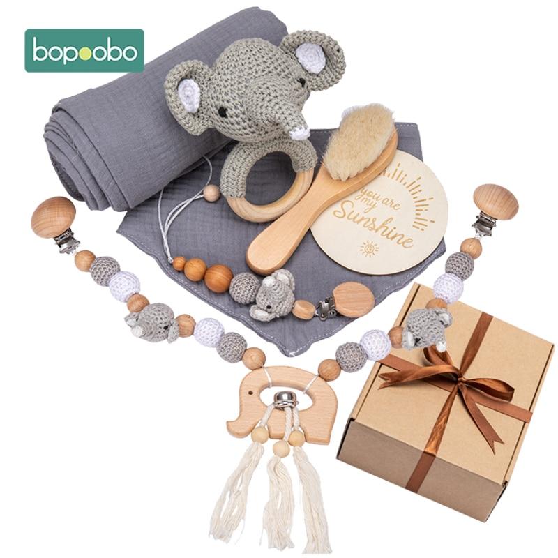 Bopoobo Baby Toys Set Wooden Cartoon Animal Newborn Gift Box Bath Towel Pacifier Chain Brush Milestone Personalise Photograph