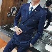 2021 men business suit fashion slim casual elegant double breasted vertical thin streaks pattern men suit blazerpants vest