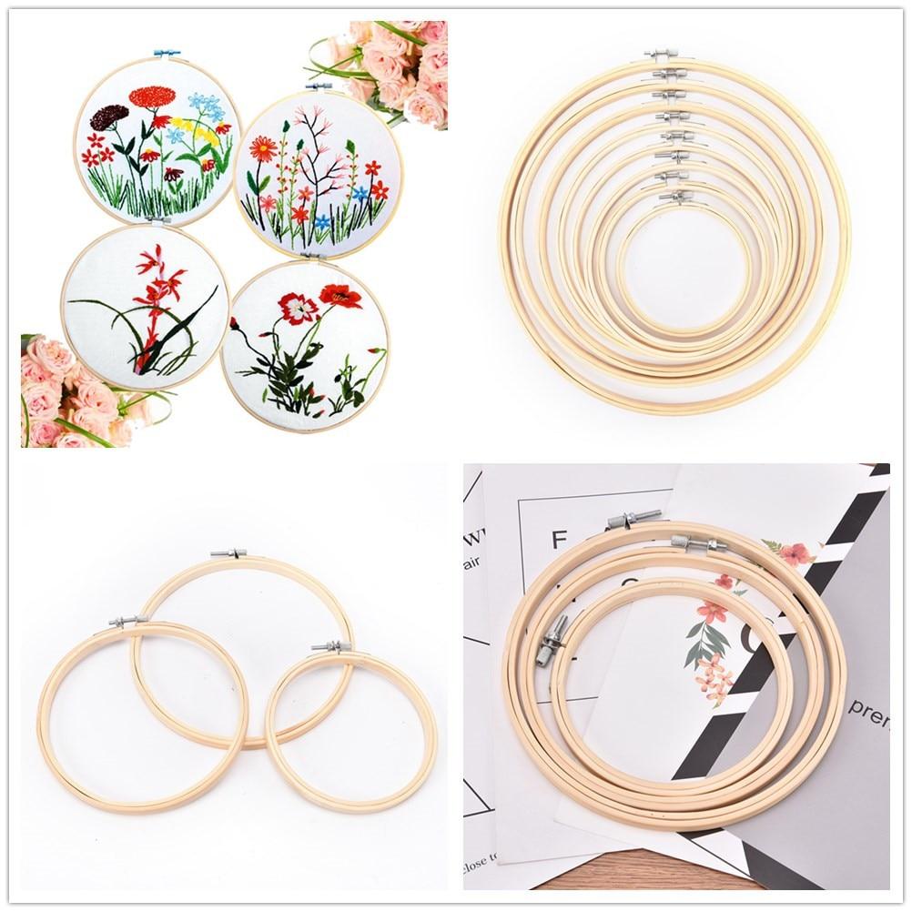 1 Uds 13-23cm de madera mano utensilio para bordado de punto de cruz bordado aro marco de bambú bordado aro redondo bordado herramientas de costura