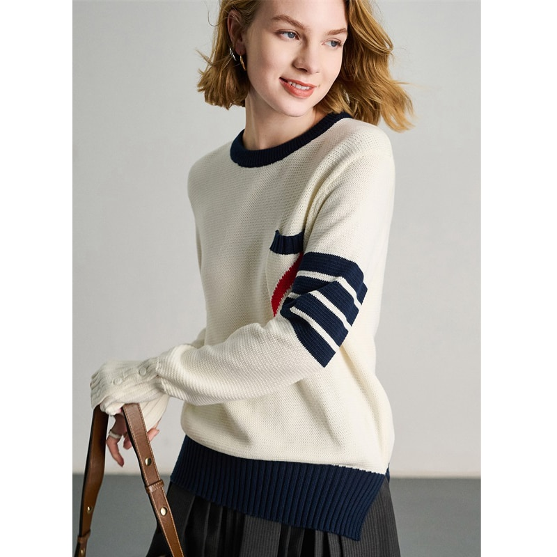 Sweater Women 100% Cotton Spliced Knitted O Neck Long Sleeves Patchwork Pocket High Quality Pullover Casual Style New Fashion enlarge