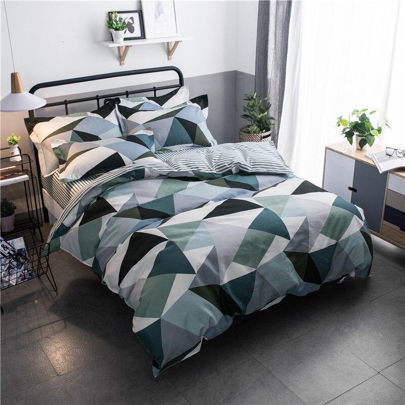 طقم غطاء سرير مخطط بطبعة هندسية ، للأولاد والبنات ، غطاء لحاف ، ملاءة سرير وأكياس وسادات ، 61053
