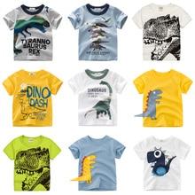 Meninos e meninas dos desenhos animados t-shirts crianças dinossauro impressão t camisa para meninos crianças verão manga curta camiseta algodão topos roupas