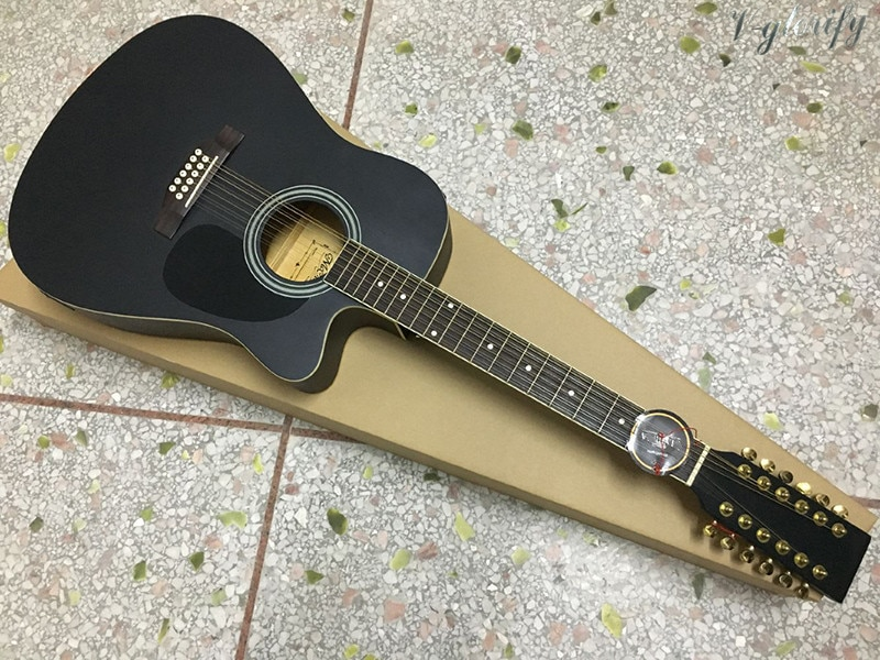 Guitarra acústica eléctrica de 12 cuerdas negra de 41 pulgadas diseño recortado acabado mate abeto guitarra popular superior con función sintonizadora