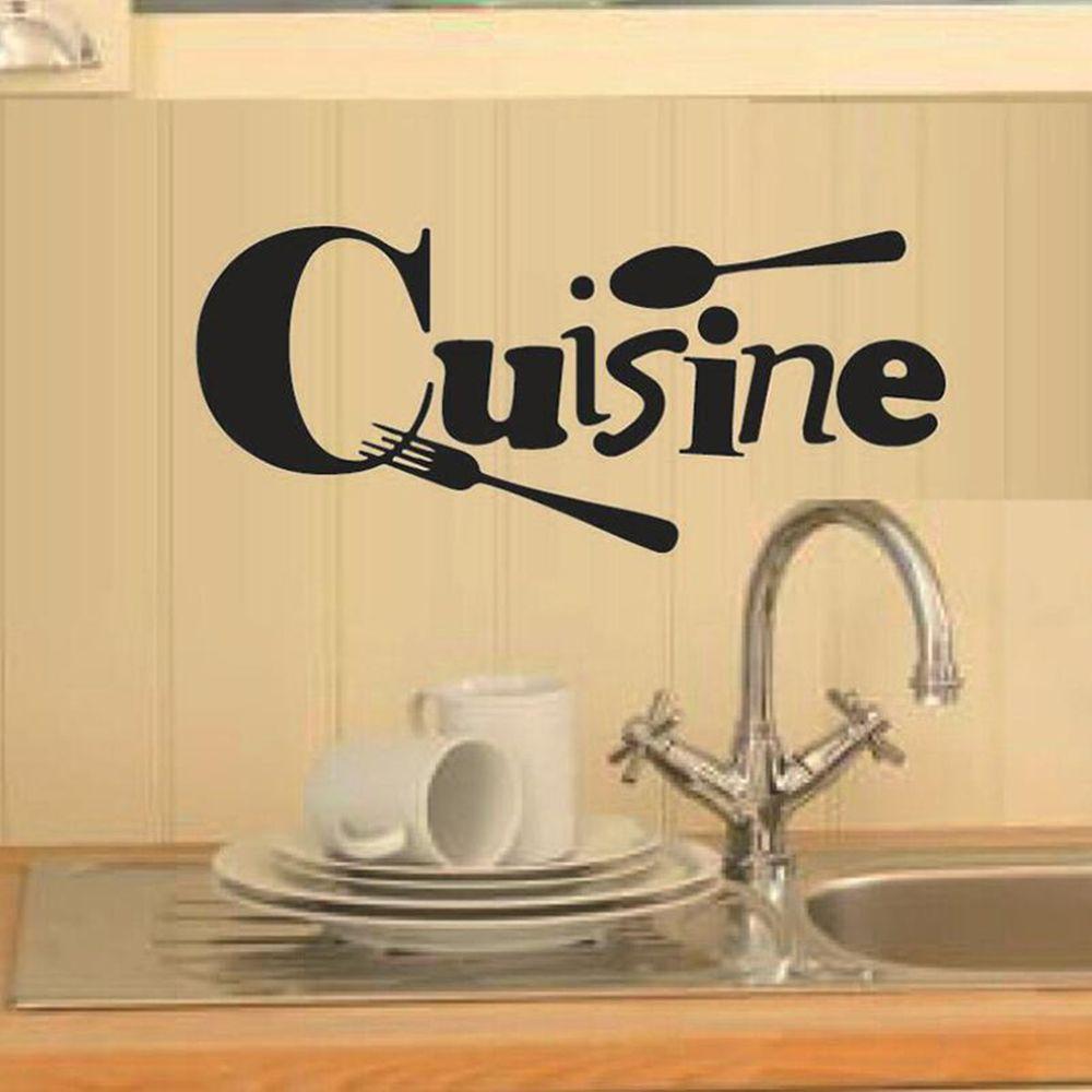 Pegatina de pared de palabra Cuisine, cuchara creativa, tenedor tallado, decoración artística de vinilo para cocina, póster de pared para restaurante, decoración de fondo para habitación