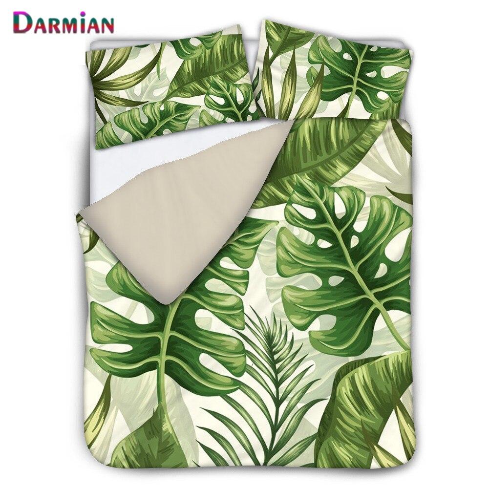 DARMIAN موضة الشمال الغابات المطيرة الأخضر ورقة تصميم طباعة حاف مجموعة غطاء المخدة 3 قطعة طقم سرير ديكور المنزل متعدد الحجم