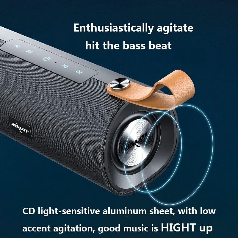 ZEALOT S30 Wireless Bluetooth Speaker HIFI Portable Speakers Stereo Bass Sound Box Support TF Card,TWS,AUX,USB Flash Drive