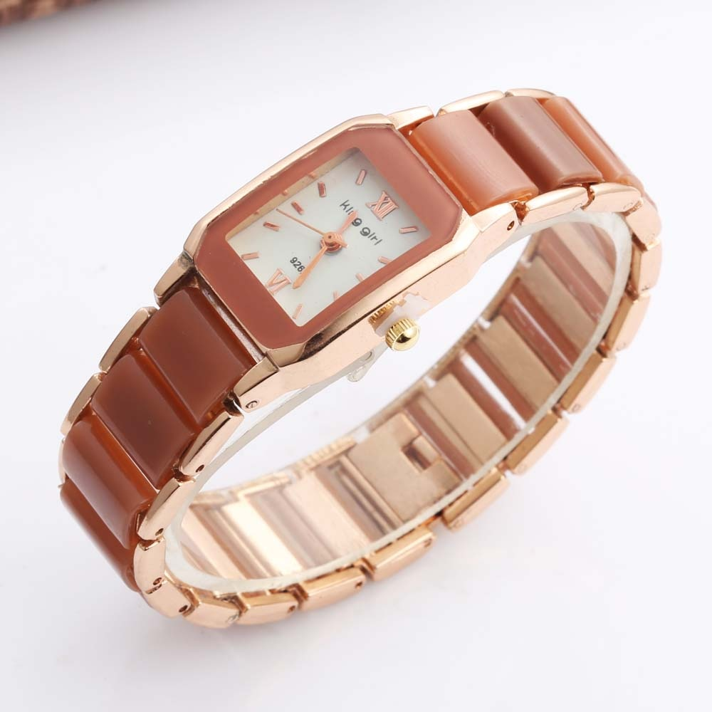 Relojes de mujer King Girl, relojes de pulsera informales de cuarzo, relojes rectangulares de moda, reloj de cerámica de imitación para mujer, reloj femenino