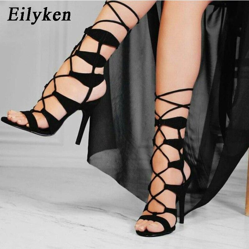 Eilyken roma tornozelo rendas até sapatos mulher sexy gladiador peep toe sandálias botas preto fino salto alto verão boate bombas